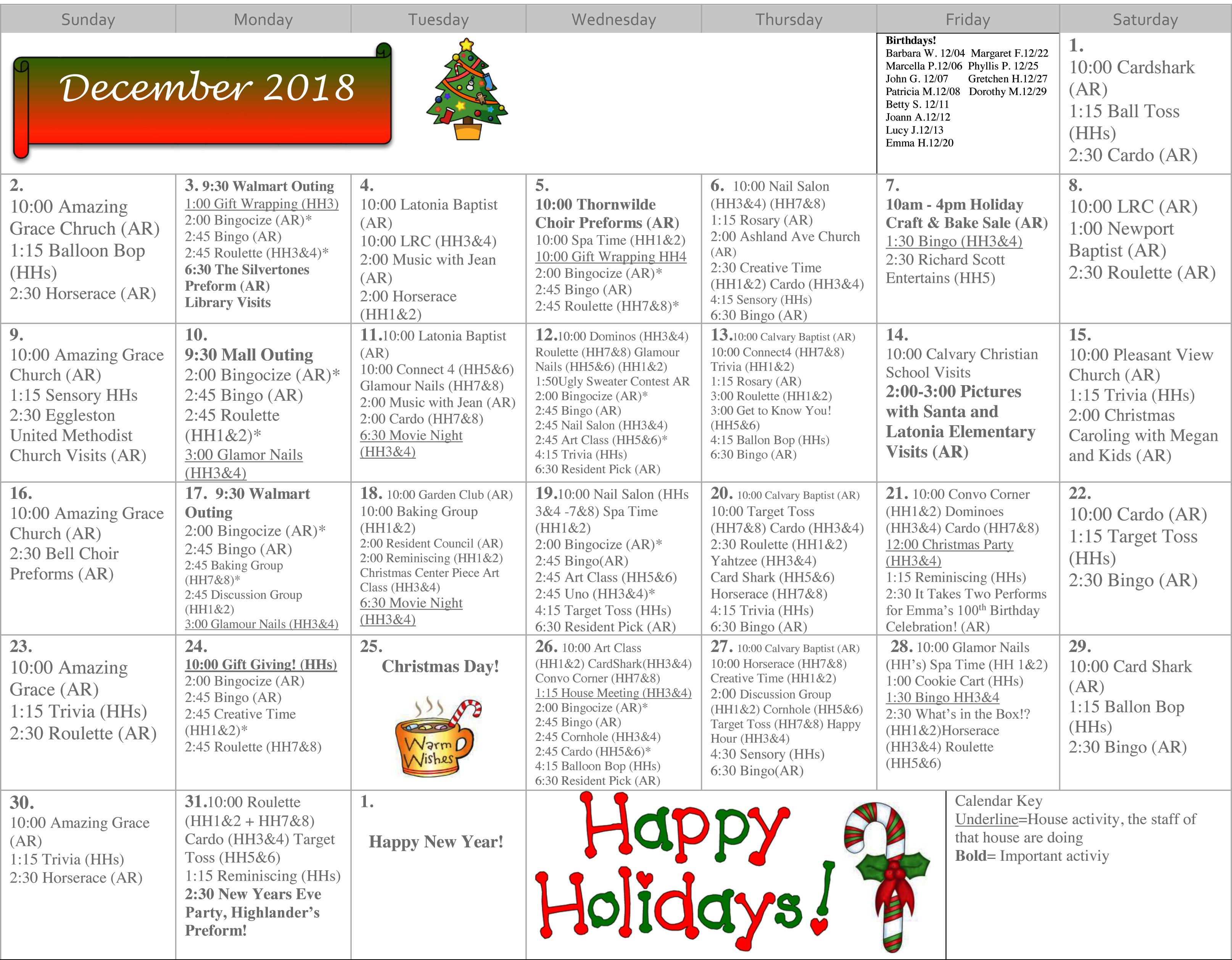Rosedale Calendar Dec-1