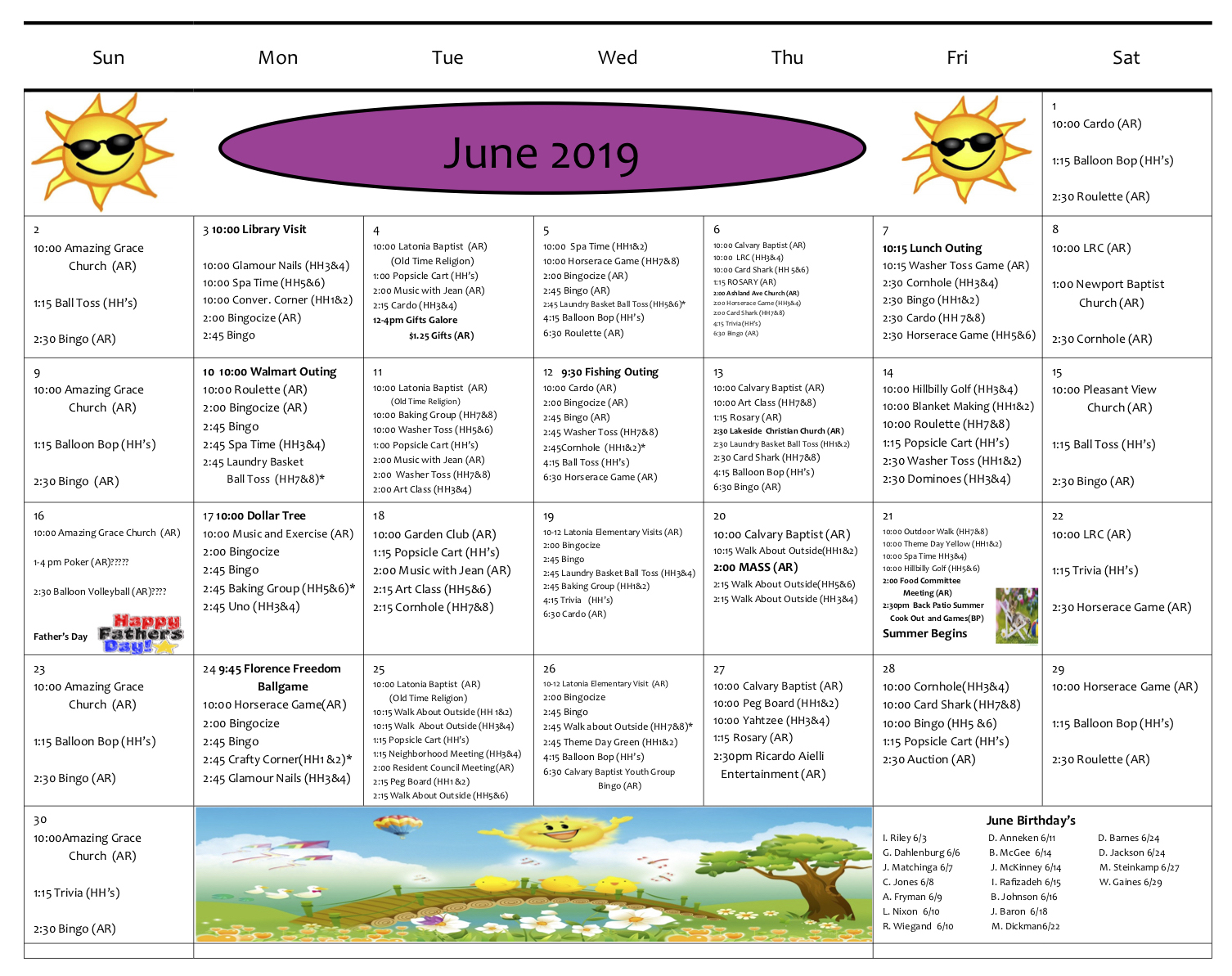 Rosedale June 2019 Act Calendar