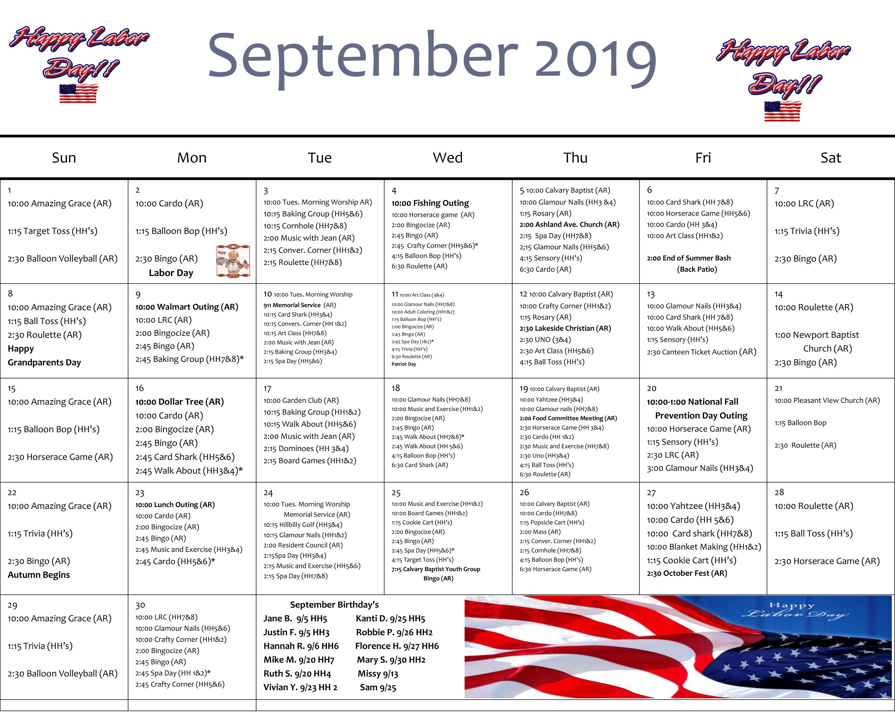 Sept. Calendar Rosedale Green 2019