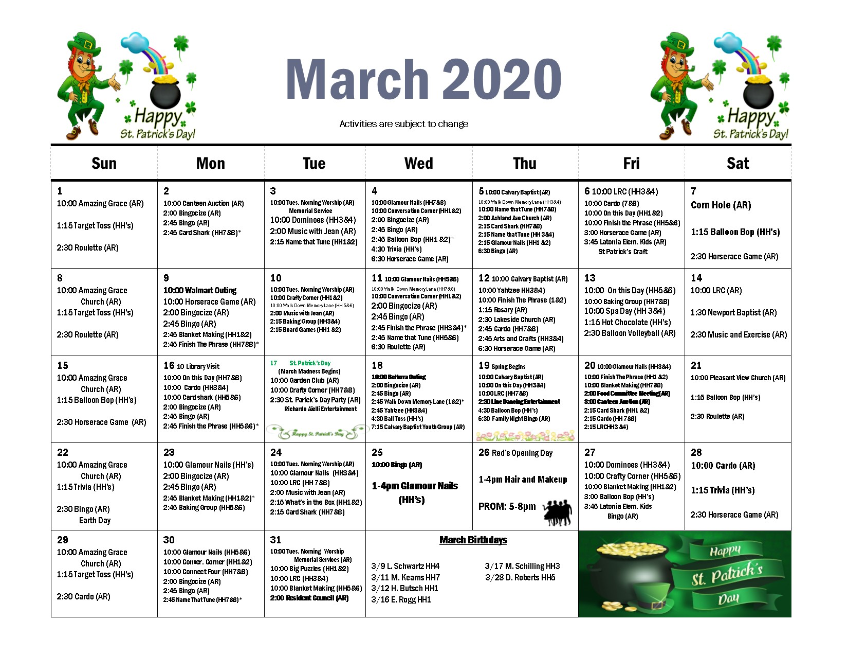 rosedale March 2020